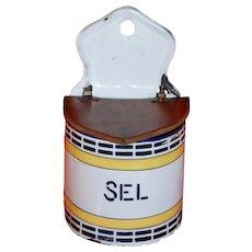 French Enamel Ware Salt Box ~ Yellow & Black Vintage
