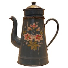 French Antique Enamelware Cafetiere ~ Raised Floral Coffee Pot