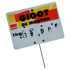 French Butcher Shop Sign ~ Gigot ~ Leg of Lamb