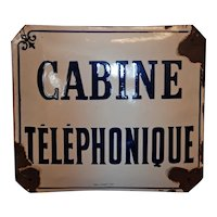 French Enamel Telephone Booth Sign