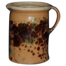 Antique French JASPE SPATTER WARE Milk Jug ~ Savoie Alsace