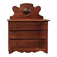 Antique 3 Drawer Wooden Doll Dresser Mirror Bureau ~ Salesman Sample
