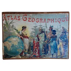 Atlas Georgraphy Cube Puzzle World Maps 1889 ~ Antique Toy