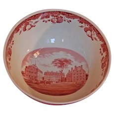 HARVARD University Wedgwood Punch Bowl Centerpiece CrimsonTransferware
