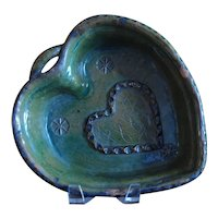 1883 HEART Shaped Mold ~ Antique French REDWARE ~ Green Glaze
