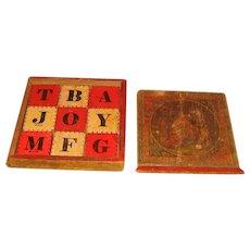 Hill's FLAT BLOCKS ~ Wooden Alphabet in Slide BOX ~ Child Toy