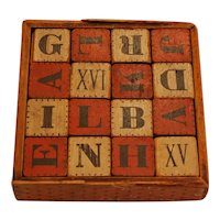 HILL'S Wooden Alphabet Block Cubes ~ 19thc Child Toy