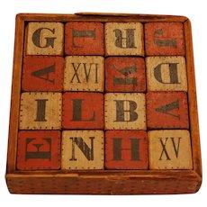 HILL'S Wooden Alphabet Block Cubes ~ 19thc Child Toy