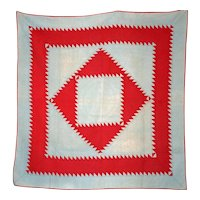 AMISH Quilt LANCASTER PA ~ Sawtooth Diamond-in-the-Square