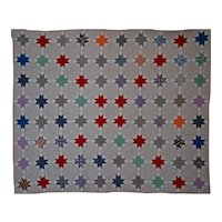 Evening Star Quilt ~ Ready to Use ~ Red Center Stars