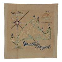 Martha's Vineyard Embroidered Map Sampler