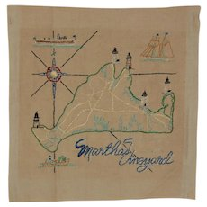 Martha's Vineyard Embroidered Map Sampler