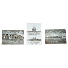 3 Wedgwood Calendar Tiles ~ Brown Transfer ware ~ US Navy Ship Interest
