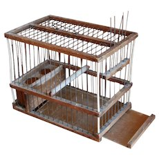 Small Wooden Primitive Bird Cage