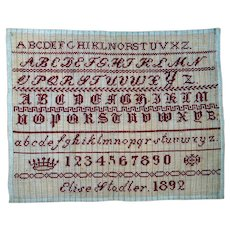 Redwork Alphabet Sampler ~ Dated 1892