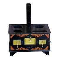 Child's Toy Tin Stove ~ Art Deco Stenciled Tole ~ Salesman Sample