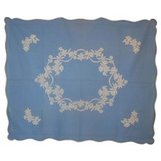 Pair 2 Matching Wedgwood Blue & White Applique Quilts