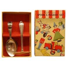 Sheffield Silver Boxed BABY SET ~ Hallmark SPOON & PUSHER