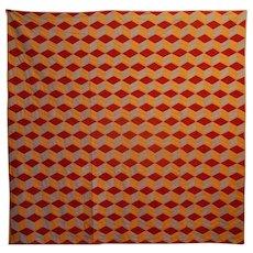 Antique Connecticut Quilt ~ Tri Color Tumbling Blocks