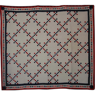 Red White Blue ~ 19th c AMERICANA QUILT ~ Postage Stamp Nine Patch