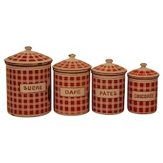 RED French Canister Set ~ BB Antique Enamel Ware
