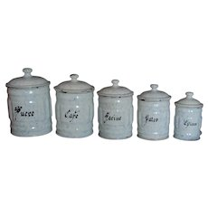 French FLUTED Blue & White Canister Set