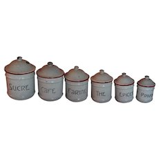 ART DECO 6pc French Antique CANISTER SET ~ Red & Gray Enamelware