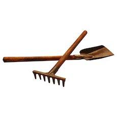 Child's VINTAGE TOY ~ Digging Gardening SET Rake & Shovel