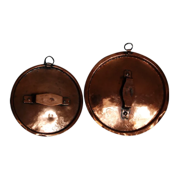 Pair Early French Copper Pot Lids ~ Use or Decorate