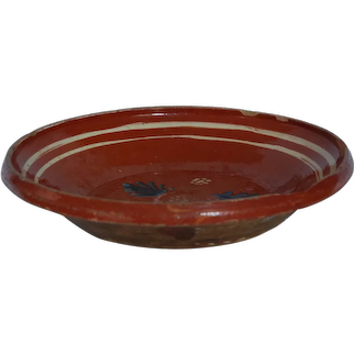 FRENCH Antique Slip Painted SOUFFLENHEIM Platter ~ 19THc Savoie JASPE Plate