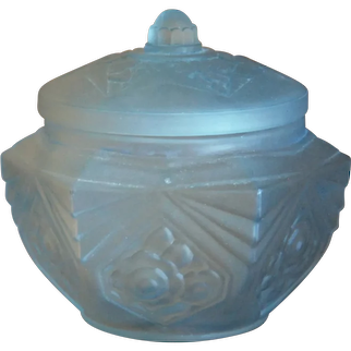 Antique FRENCH Frosted Satin Glass ART DECO Style Vanity Powder Jar BOX
