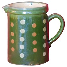 XLG PITCHER French JASPE ~ Vintage Yellow ware Polka Dots