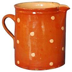 FRENCH Redware Polka Dot Xlg JASPE Pitcher ~ Vintage SAVOIE Pottery