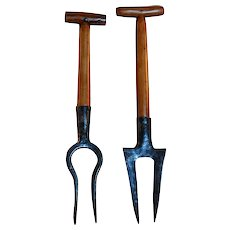 Pair Vintage FRENCH Gardening Tools ~ Beet TROWEL and FORK