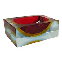 1960s Gorgeous Rectangular Red and Blue Ashtray or Vide Poche by Flavio Poli for Seguso