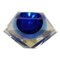 1960s Gorgeous Big Blue Ashtray or Vide Poche Designed By Flavio Poli for Seguso