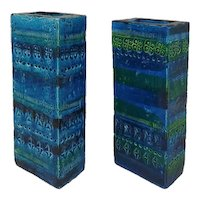 1960s Bitossi Pair of Vases by Aldo Londi Blue Collection