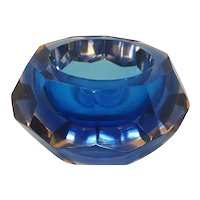 1960s Gorgeous Big Blue Bowl or Catchall Designed By Flavio Poli for Seguso