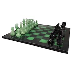 1970s Stunning Black and Green Chess Set in Volterra Alabaster Handmade Made in Italy