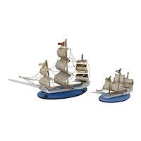 1960s Pair of beautiful handmade metal and Murano glass (Venice) sailing ships