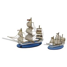 1960s Pair of beautiful handmade metal and Murano glass (Venice) sailing ships
