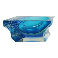 1960s Astonishing Blue Ashtray or Vide Poche Designed By Flavio Poli for Seguso