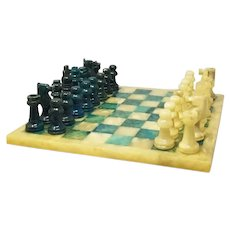 1960s Italian Blue and Beige Chess Set in Volterra Alabaster Handmade