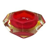 1960s Astonishing Red Ashtray or Vide Poche Designed By Flavio Poli for Seguso
