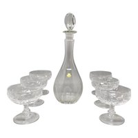 1960s Elegant Italian Mid Century Vintage Crystal Decanter with 6 Crystal Glasses