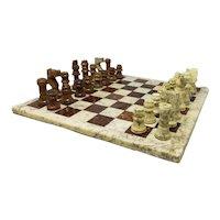 1960s Italian Brown and Beige Chess Set in Volterra Alabaster Handmade