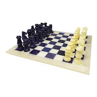 1970s Stunning Blue and Beige Chess Set in Volterra Alabaster Handmade Made in Italy