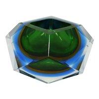 1960s Astonishing Big Green snd Blue Ashtray or Vide Poche Designed By Flavio Poli for Seguso