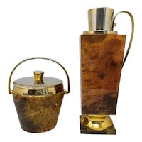 1950s Stunning Bar Set by Aldo Tura for Macabo in Brown Goatskin and Brass. Made in Italy