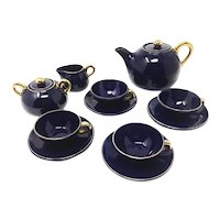 Art Deco French Blue Coffee and Tea Set, 1930s